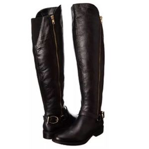 Steve Madden Knee High Black Leather Boots Buckle